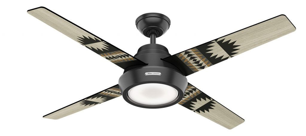 Hunter Pendleton black ceiling fan with Spider Rock pattern