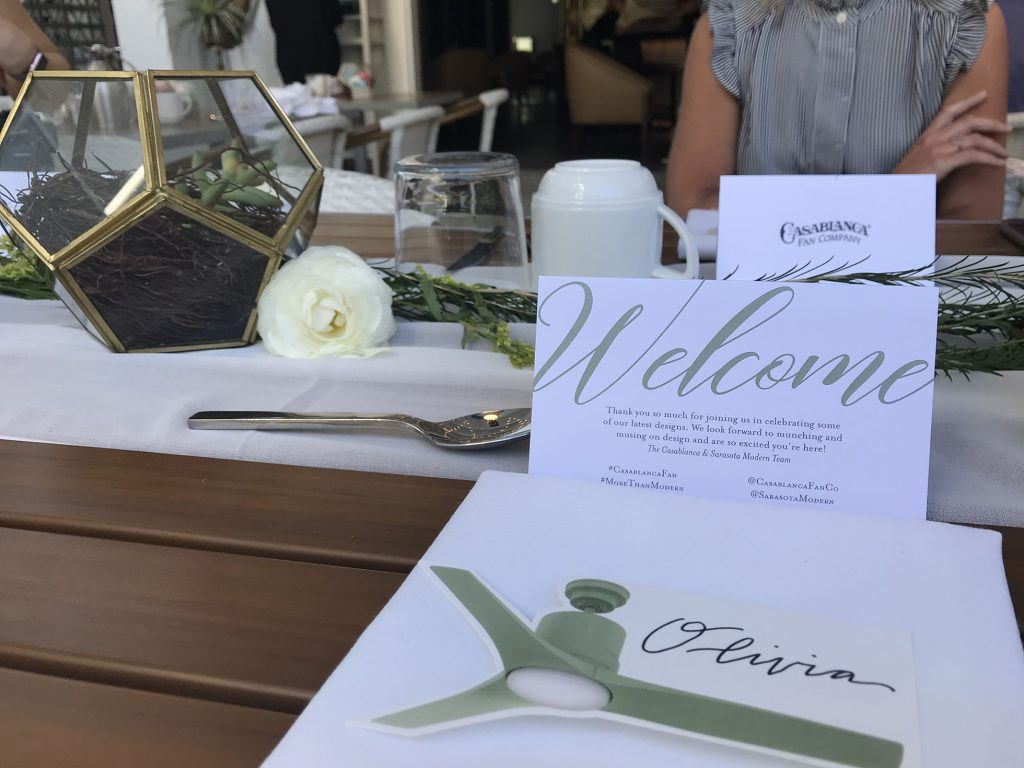 At the Casablanca event, name cards were placed on the dining table to welcome media attendees.