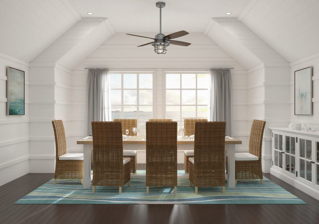 Port Royale Hunter caged ceiling fan with light in casual coastal dining room