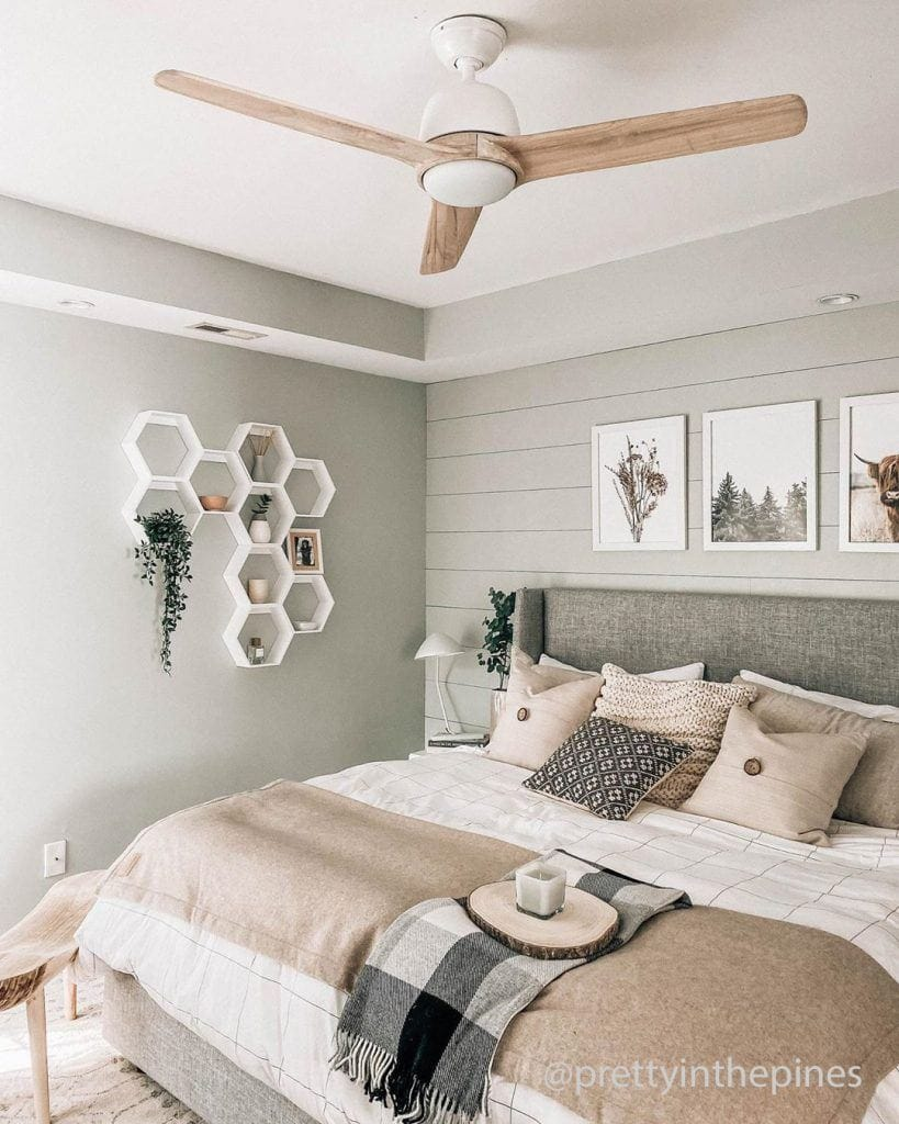 Pretty in the Pines blog for guest bedroom tips with Norden modern ceiling fan with light