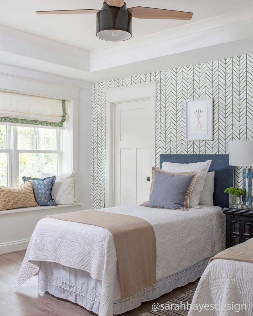 Sarah Hayes Design blog for guest bedroom holiday tips with Cranbrook mid-century modern ceiling fan with Edison LED light