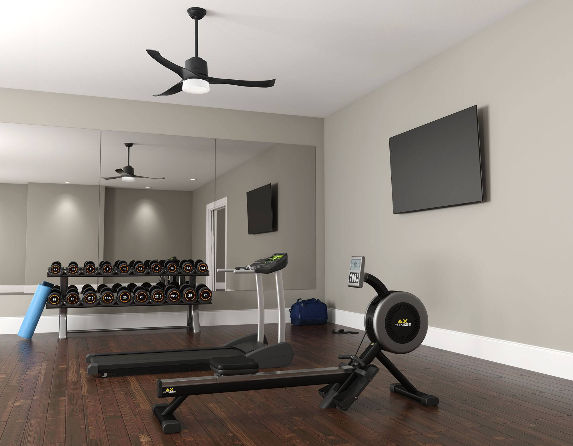 Symphony smart home ceiling fan in a home gym