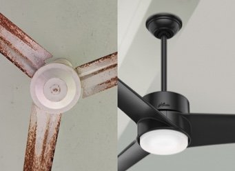 Comparison image of a Hunter ceiling fan next to a competitors ceiling fan that has corrosion