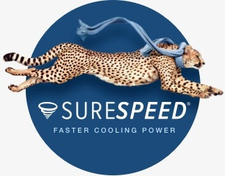Hunter SureSpeed logo with a cheetah running with a scarf and faster cooling power tagline