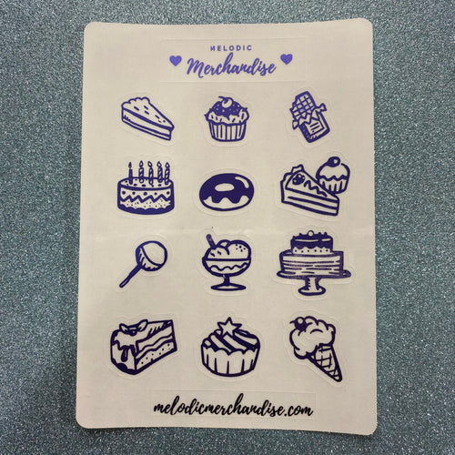 The Bakery Single Sheet Foiled Sticker Sheets