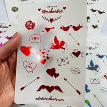 Load image into Gallery viewer, Valentine's Day Foiled Sticker Sheet