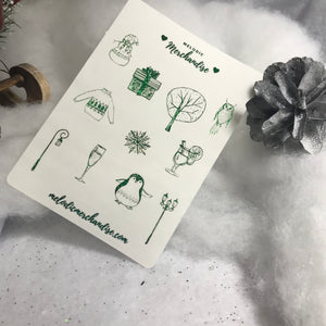 "Foiled ""Winter Chill"" Sticker Sheet"