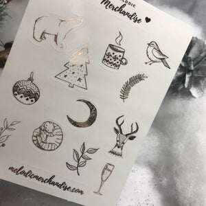 "Foiled ""Hot Cocoa"" Sticker Sheet"