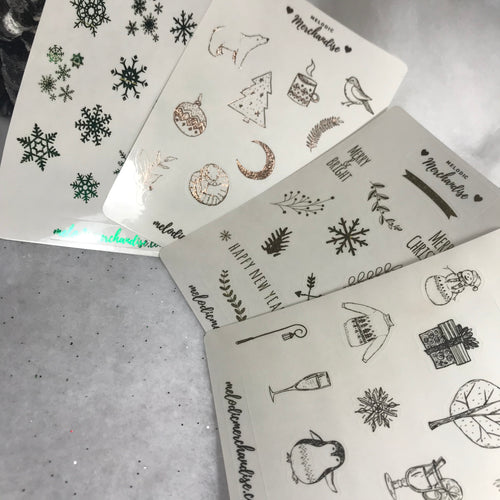 Bundle - Foiled Holiday Themed Sticker Sheets