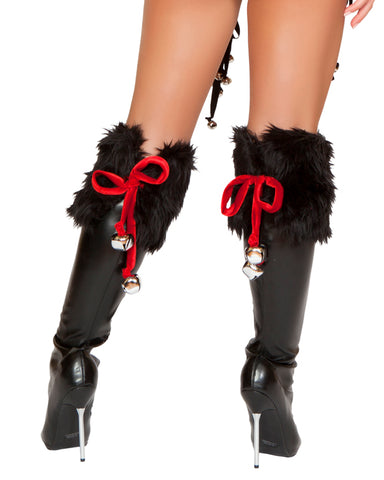 Jingle Bell Black Boot Toppers
