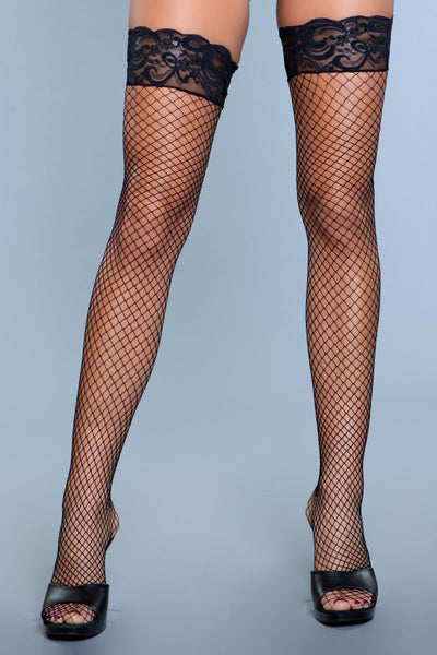Amber Lace Top Fishnet Thigh Highs Black