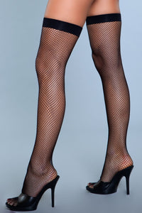 Nylon Fishnet Thigh Highs Black