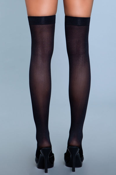 Opaque Nylon Thigh Highs Black