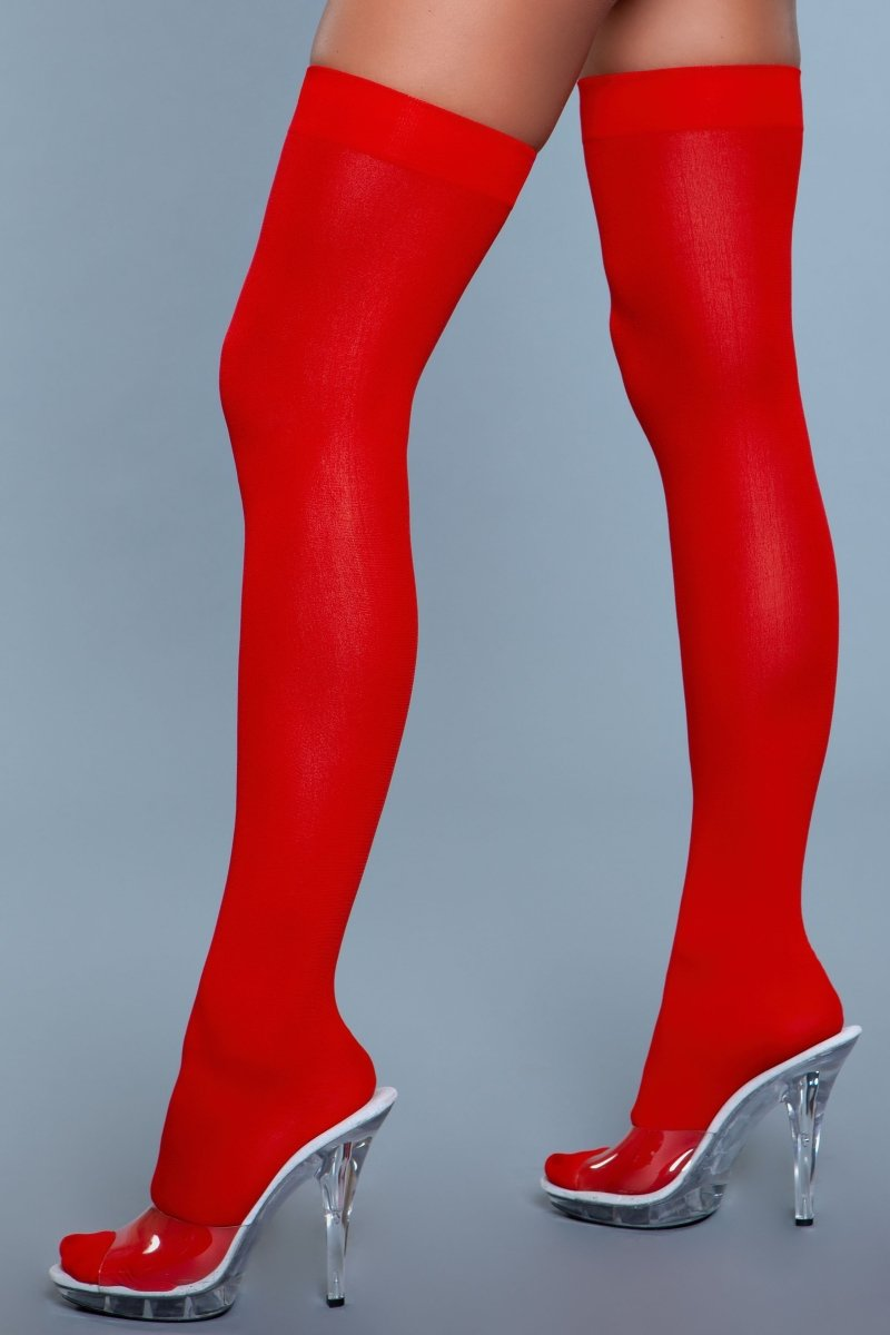 Opaque Nylon Thigh Highs Red