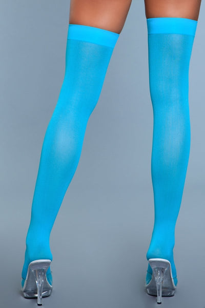 Opaque Nylon Thigh Highs Turquoise