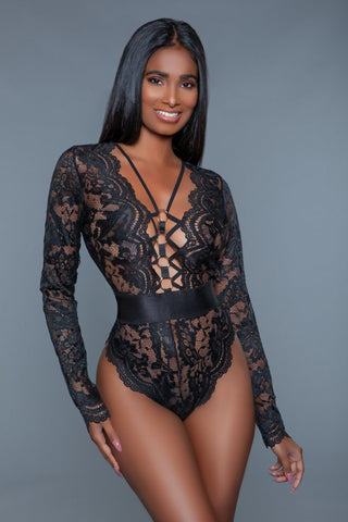 Ramona Black Lace Long Sleeve Bodysuit