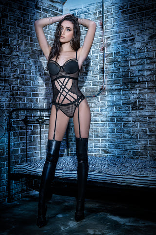 Netting and Mesh Underwire Bustier and Thong