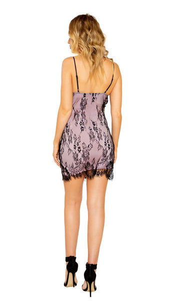 Eyelash Lace Mini Dress with Contrast Color Lining