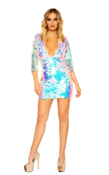 Tear Drop Sequin Dress with Three Quarter Length Sleeves and Zipper Closure