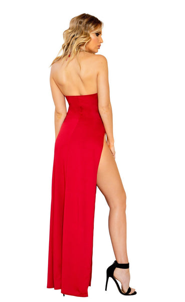 Maxi Length Dress with Deep V Detail and High Slit