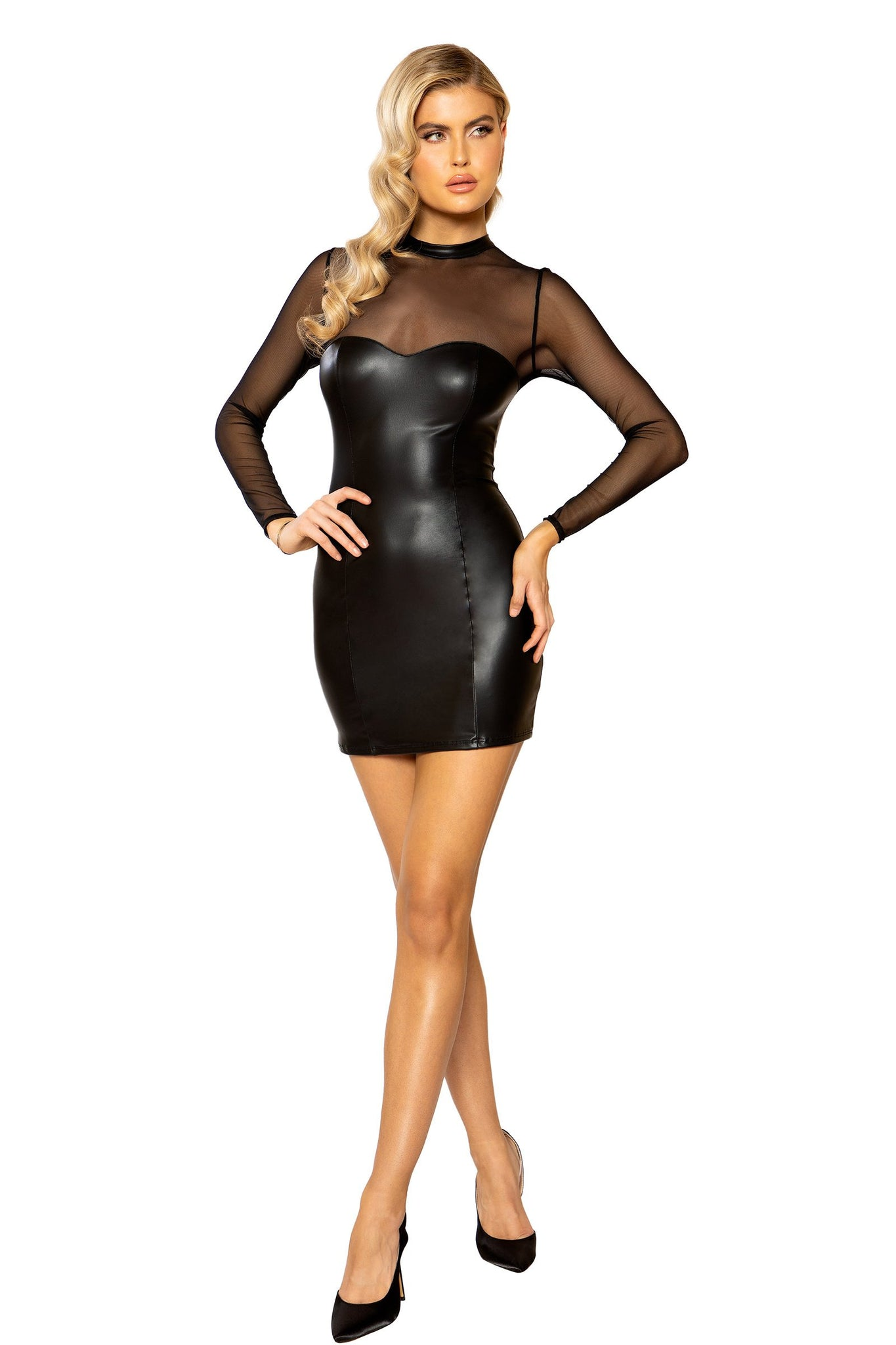 Sheer Mesh Long Sleeved Dress