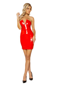 Stretch Vinyl Tube Dress with V-Wire Detail