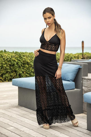 Black Crochet netting Top and Skirt Set