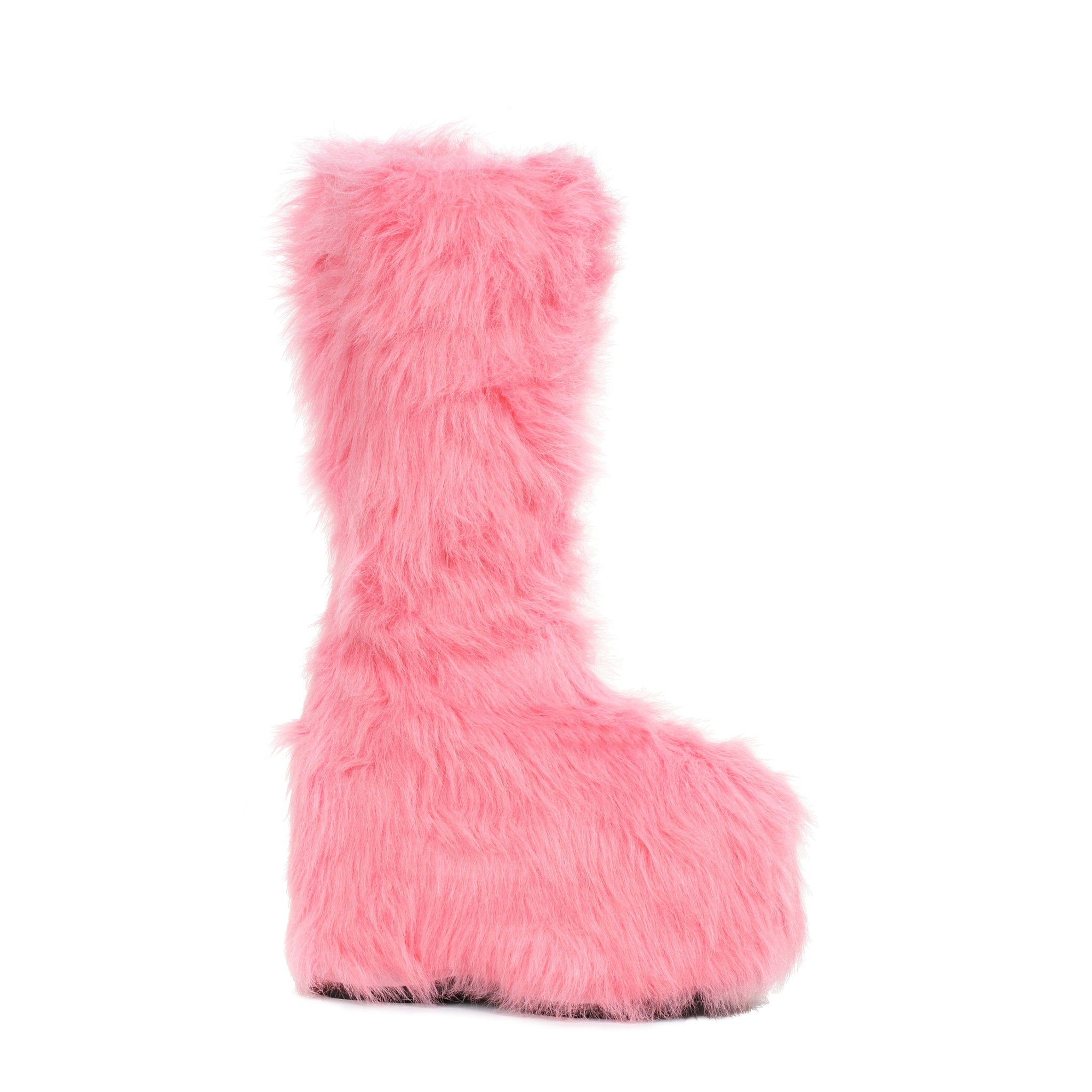 5 Chunky Heel Platform Boot with faux fur