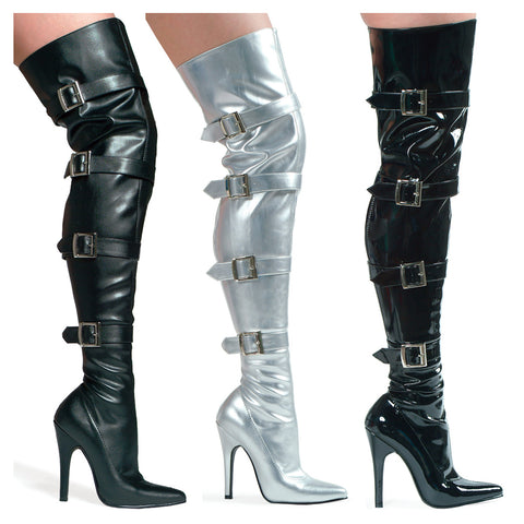 5 Heel Stretch Thigh Boot With Buckles & Innerzipper