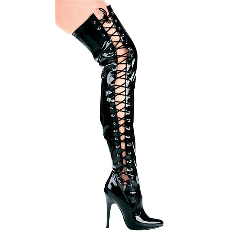 5 Heel Thigh High Stretch Boot With Side Laces