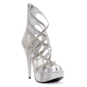 5 Metallic Heel with criss-crossing straps