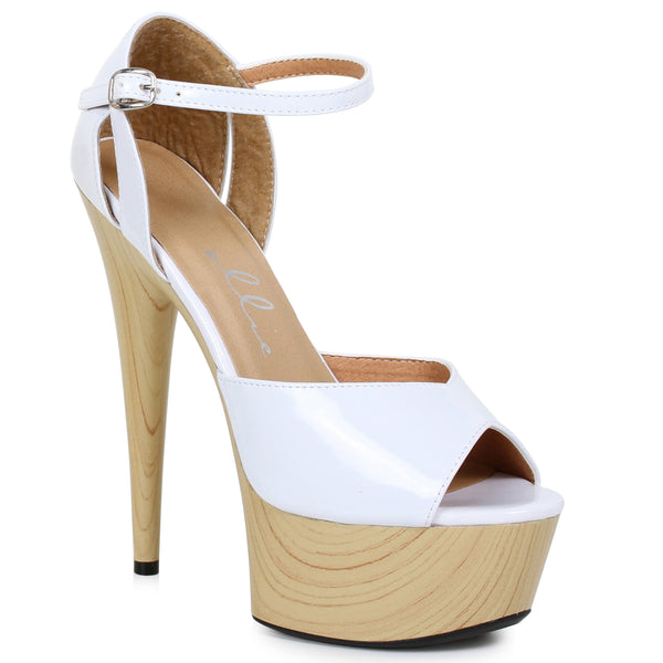 6 PEEPTOE SANDAL WITH WOOD PLATFORM