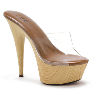 6 Pointed Stiletto Mule W/Wood Bottom