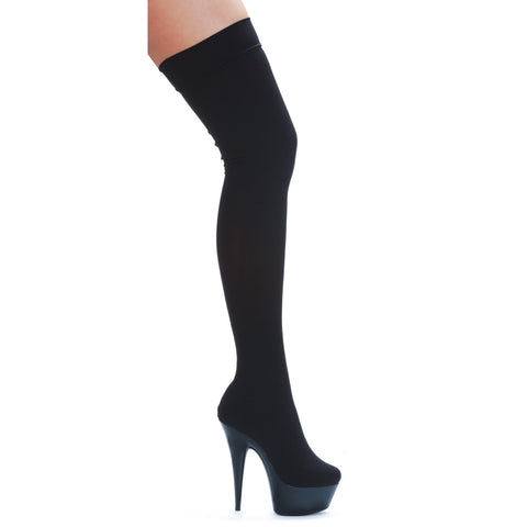 6 Pointed Stiletto Stretch Lycra Thigh High Boot