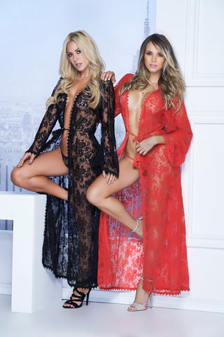 Red Long Lace Robe with G-String