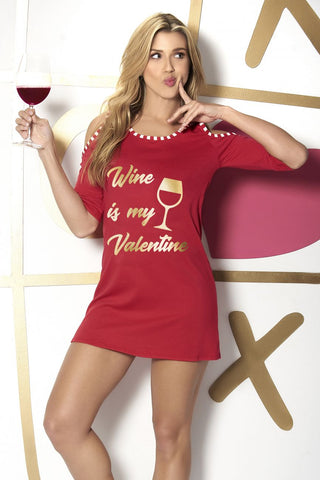 Wine is My Valentine Red Sleep Shirt