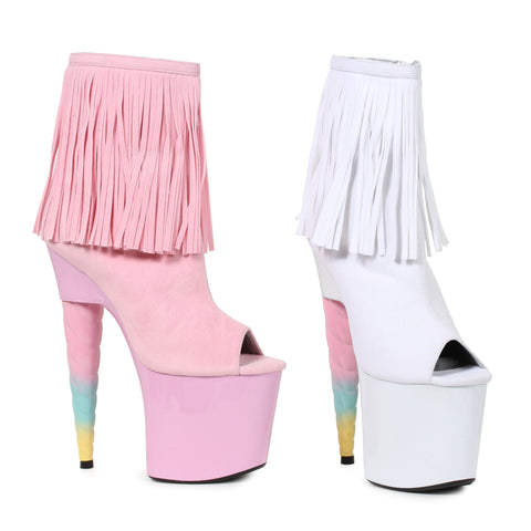 7 Unicorn Heel Platform Bootie with Fringe