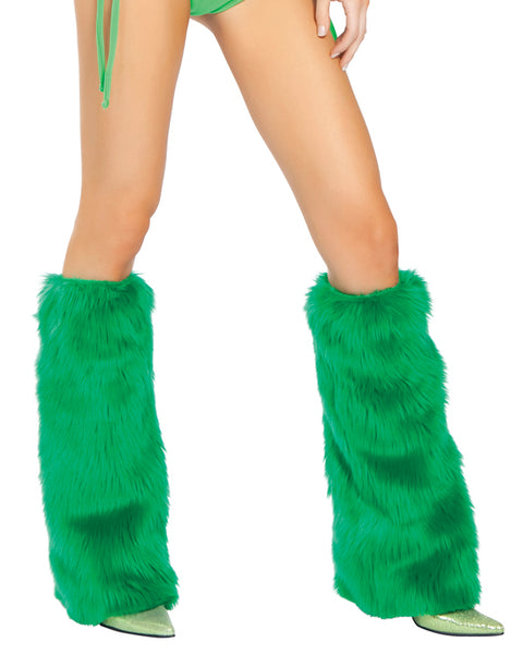 Faux Fur Legwarmers Green