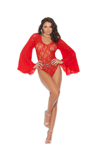 Red Lace Bodysuit With Bell Sleeves