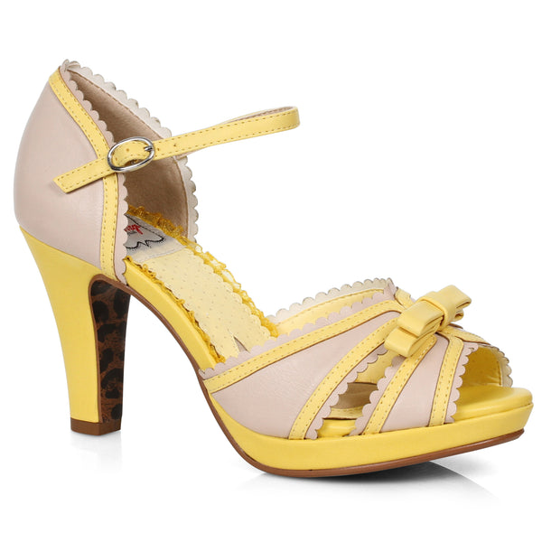 4 Two Toned Peep Toe Sandal With Bow