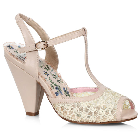 4 T-Strap Peep Toe Shoe With Lace