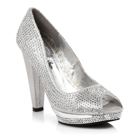 4 Heel 1Platform Rhinestone Covered Peep-Toe Pump