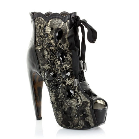 Concelaed 5.5 Heel w/Lace and Stone Peep Toe Ankle Boot