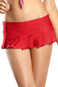 Pleated Mini Skirt Red
