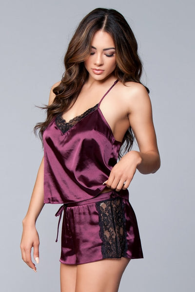 Jasmina Satin Cami & Short Set Purple
