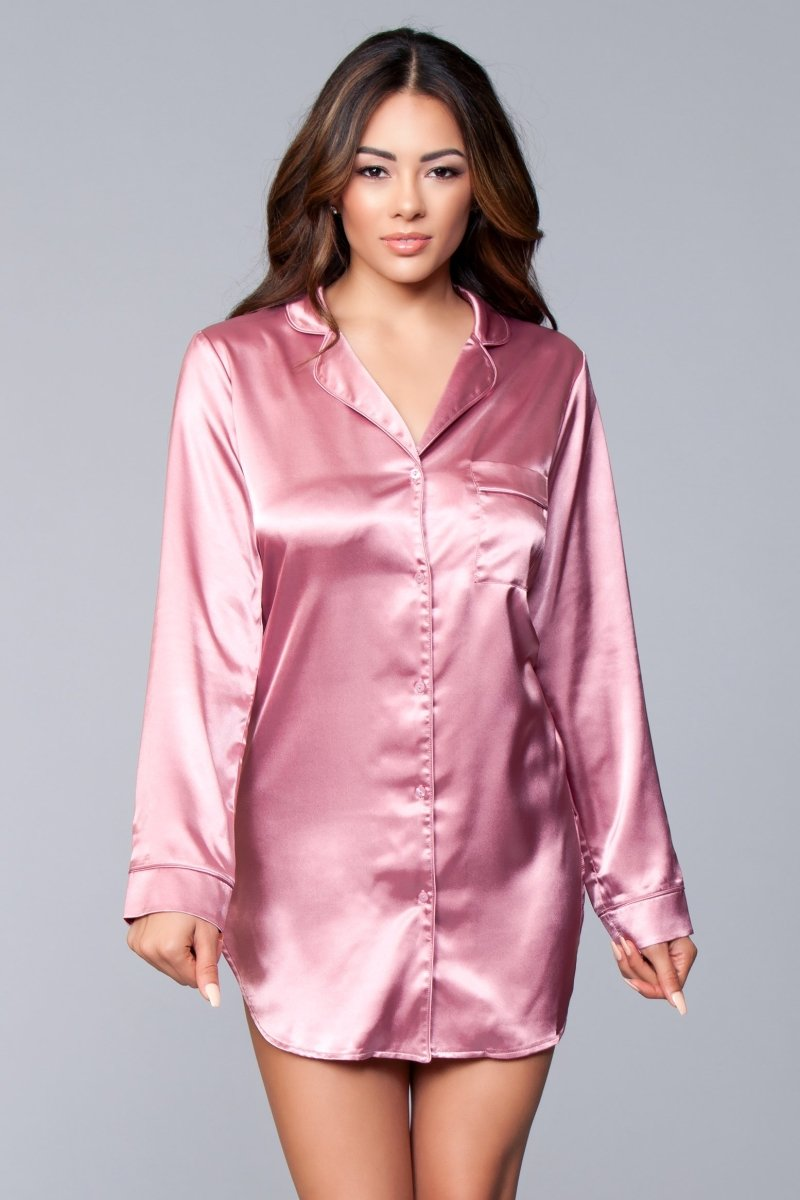 Kimberly Satin Sleepshirt Dusty Rose