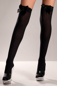 Black Opaque Thigh Highs With Bow