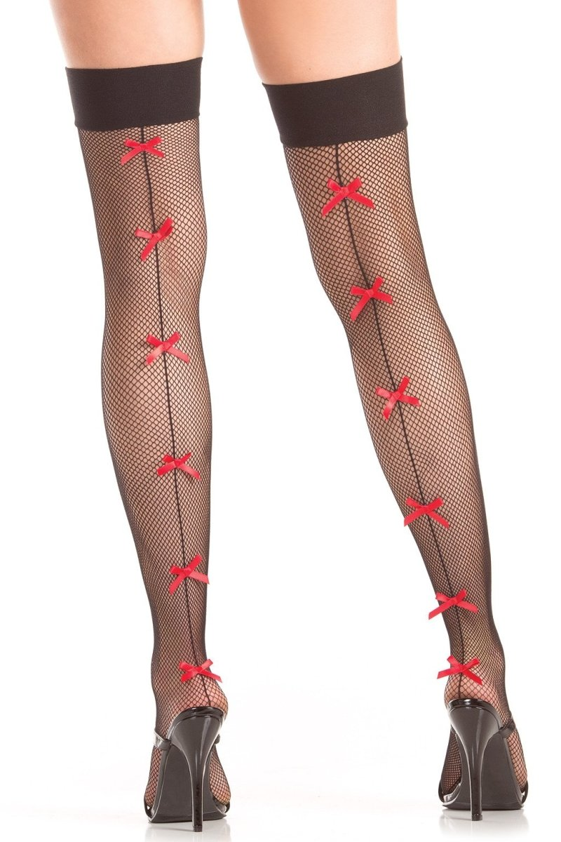 Red Bow Backseam Thigh Highs