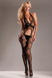 Lace Halter Suspender Body Stocking