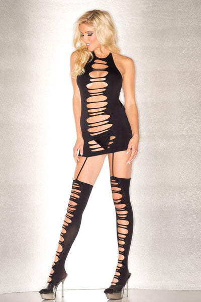 Seamless Shredded Halter Bodystocking